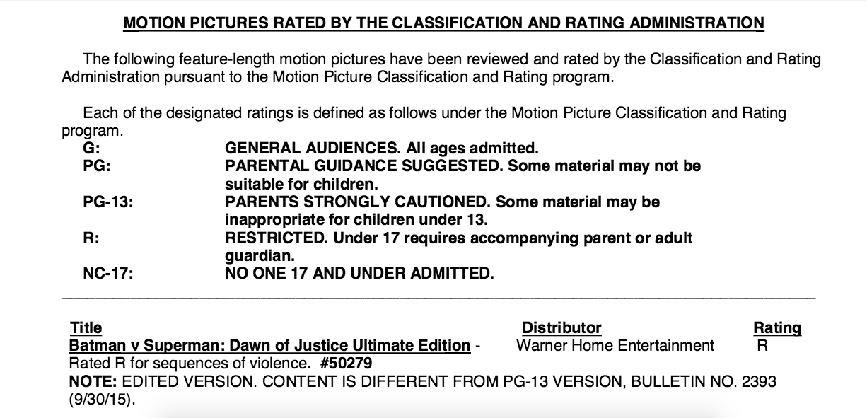 batman v superman ultimate edition r rating mpaa