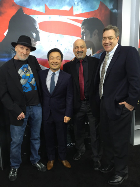 """The DC Comics dream team of (left to right) The Dark Knight Returns writer Frank Miller, DC Entertainment Co-Publishers Jim Lee and Dan DiDio, and Superman writer Dan Jurgens attend tonight's worldwide premiere of """"Batman v Superman: Dawn of Justice"""" at Radio City Music Hall in New York."""